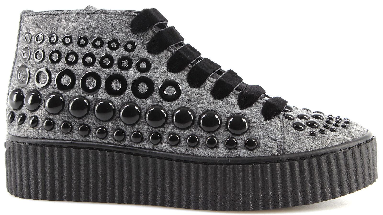 Damen Schuhe Sneakers PINKO Shine Baby Shine Bolsena I42 Grey Spikes Neu