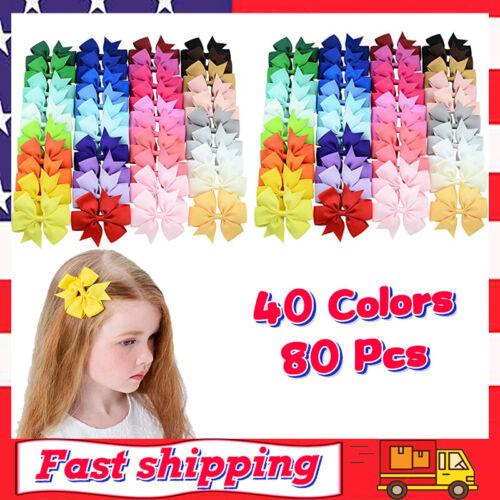 80pcs Grosgrain Ribbon Hair Bows Alligator Clips Hair Accessories for Girls//Kids