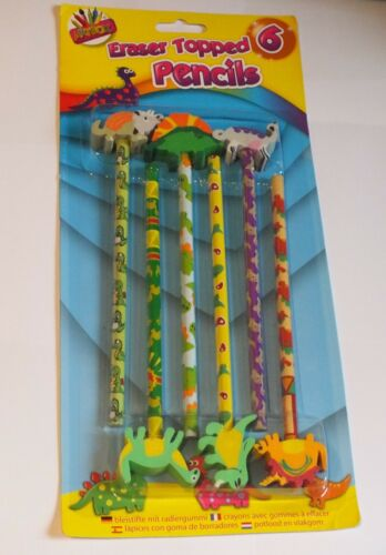 Dinosaur Themed Set of 6 Eraser Topped Pencils