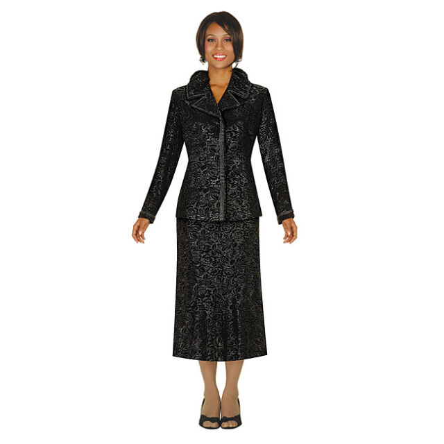 New G M I Divine Apparel Women S Jacquard Jacket Skirt Suit Black