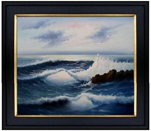 Framed-Quality-Hand-Painted-Oil-Painting-The-Waves-20x24in