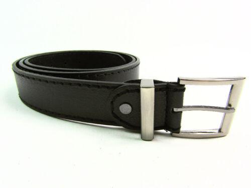"Mens High Quality black Leather Belt Gun Metal Buckle 1.5/"" Stitching detail"