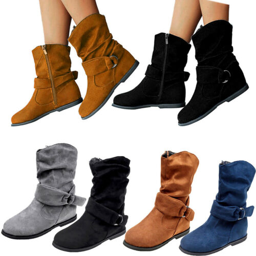 Women/'s Ankle Boots Flats Suede Shoes Casual Slouch Booties Extra Wide Zipper