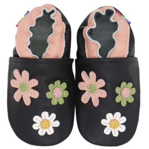Carozoo 3 Fleurs Noir 4-5y semelle souple en cuir chaussures enfants