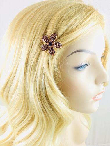 USA Flower Magnet Hair Clip Hairpin  Rhinestone Crystal Small Barrette Brown B1