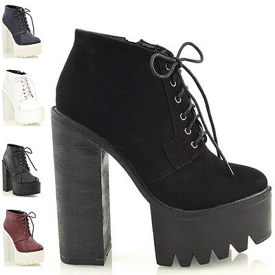 Ladies Lace Up Platform High Heel Cleated Sole Womens Ankle Boots Shoes Size 3-8