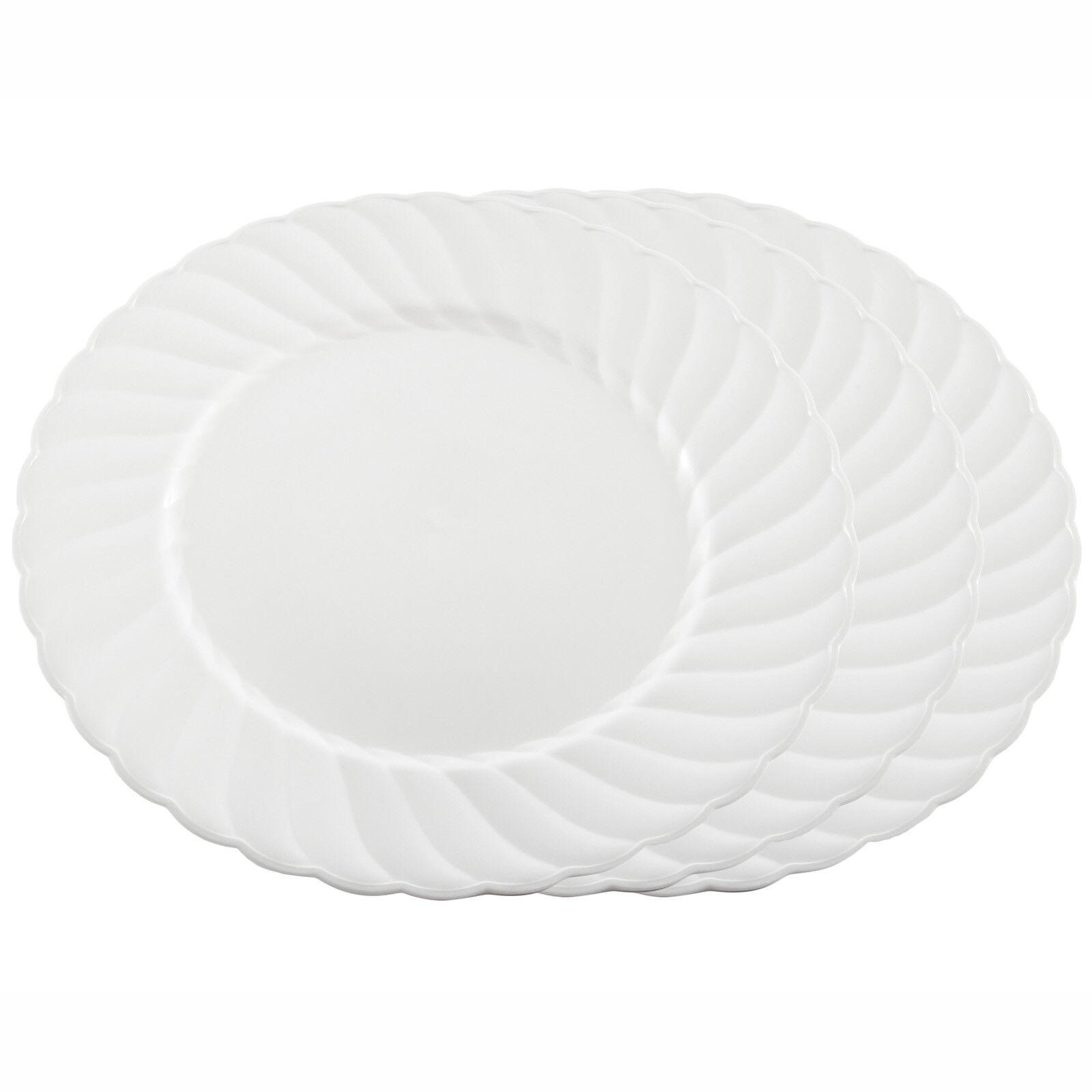 7   18cm Weiß Fancy Elegant Side Plates -Heavy Duty Disposable Plastic UK Party