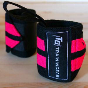 Trainingear Wrist Wraps White Black Weightlifting Lifting Crossfit Support Wrap