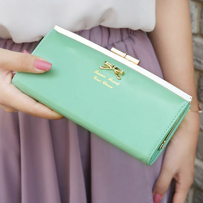 New Women's PU Leather Bowknot Button Hand Bag Bifold Long Clutch Wallet Purse