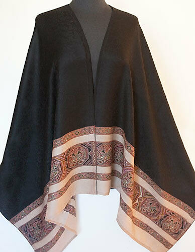 Versatile Colors Black Wool Jamawar Shawl Jacquard Jamawar India Stole Pashmina