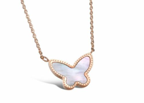 14KGP Rose Gold Stainless Steel Shell Inlay Butterfly Pendant Necklaces
