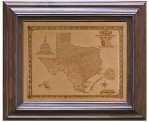FREE SHIPPING! Natural Texas Handmade Leather Map in Solid Wood Frame Made USA