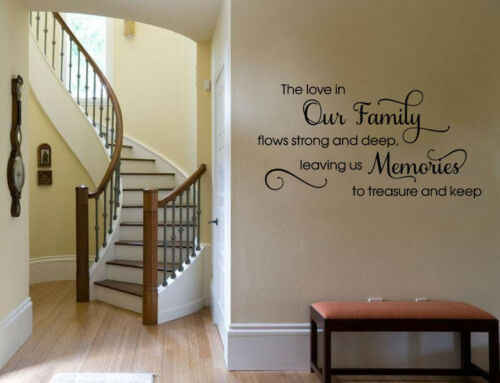 vinyl transfer. Wall Quote /'The love in our Family.../' wall art sticker quote