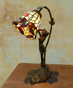 Tiffany-Tischlampe-Frauenfigur-Figur-Dragonfly-Libelle-Tiffanylampe-Lampe-TE13-a