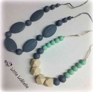 Silicone Teether Teething Nursing Necklace /& Bracelet Mint Green Gray Baby Gift