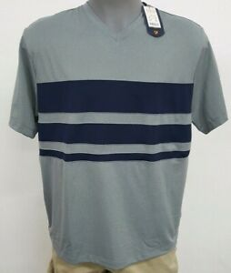 Daniel-Cremieux-Performance-Grey-Navy-Stripe-S-S-V-Men-039-s-Shirt-NWT-40-Choose-Sz