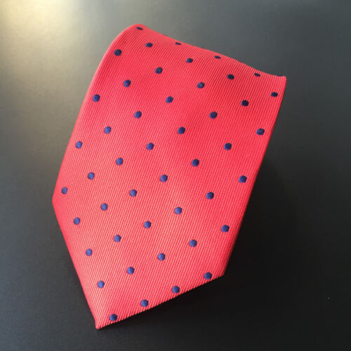 Men Blue Polka Dot Red Neck Tie Necktie Pocket Square Handkerchief Set Lot T020