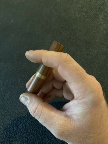 Details about  /Toothpick Holder Cigar Shape Smoking Cherry Wood Gold Rings Aficianado
