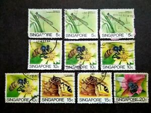Singapore-1985-Insects-Loose-Set-Up-To-20c-Extra-10v-Used-6