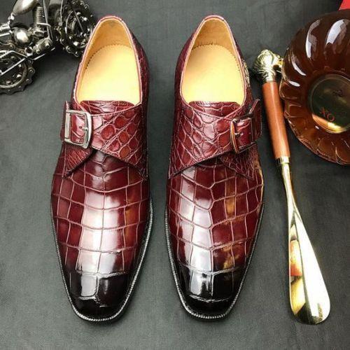 Homme Crocodile Texture Chaussures en cuir formelle robe chaussures en cuir taille personnalisée