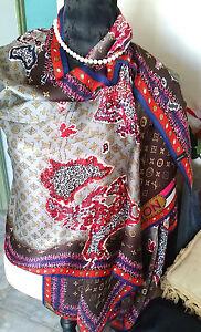 100-Pure-Silk-Wrap-Scarf-Elegant-Designer-Classic-034-The-World-034-HandRoll-Hem-034-BR