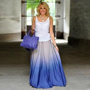 Women-039-s-Gradient-Color-Dresses-Maxi-Long-Beach-Boho-Skirt-Dress-Vintage-Gown