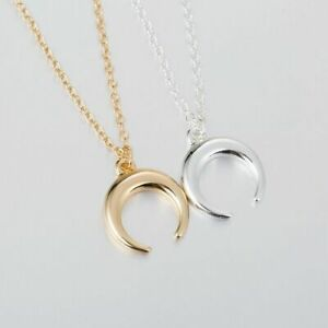Moon-Jewelry-Women-Gold-Layered-Necklace-Crescent-For-Moon-Wicca-Pendant-Horn