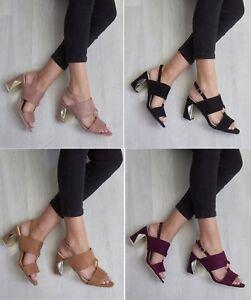 Hebilla-De-Tobillo-Tacon-Bloque-para-mujer-hasta-Bombas-Zapatos-Sandalias-De-Tiras-Peep-Toe-Tamano