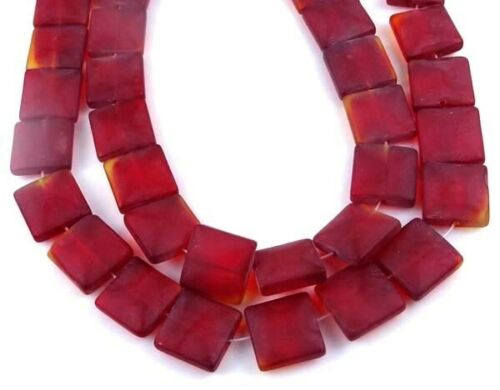Siam Ruby 13 12mm Frosted  Sea Glass Square Beads