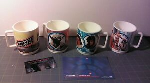 Star Wars vintage cup lot x4 Darth Boba Luke Leia Han Yoda Chewbacca R2 C-3PO
