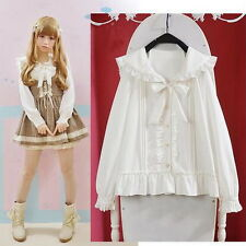 Cute Womens Lolita Falbala Collar Blouse Navy style Bowknot Lovely White Shirt &