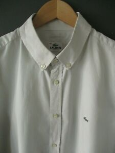 RECENT-LACOSTE-SHIRT-XL-42-TAUPE-STRIPED-COTTON-LONG-SLEEVE-DEVANLAY-SILVER-CROC