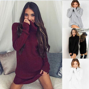 UK Fashion Womens Roll Neck Knitted Sweater Pullover Ladies Mini Jumper Dress