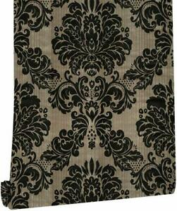 Peel And Stick Damask Wallpaper Gold Black Decor Self Adhesive Contact Paper Pvc 663274007108 Ebay