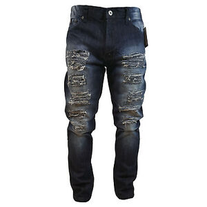 02db11b1152 SOUTHPOLE MEN'S RIPPED DENIM DARK SAND BLUE JEANS CARROT FIT STYLE ...