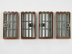 Image is loading LEGO-barred-door-gate-1x4x6-BROWN-DK-GREY- & LEGO barred door gate 1x4x6 BROWN DK. GREY x4 for castle prison ...