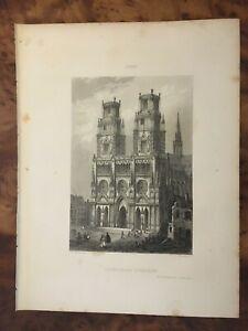 Gravure - Cathédrale d'ORLEANS Dpt Loiret - Librairie de Firmin Didot à PARIS