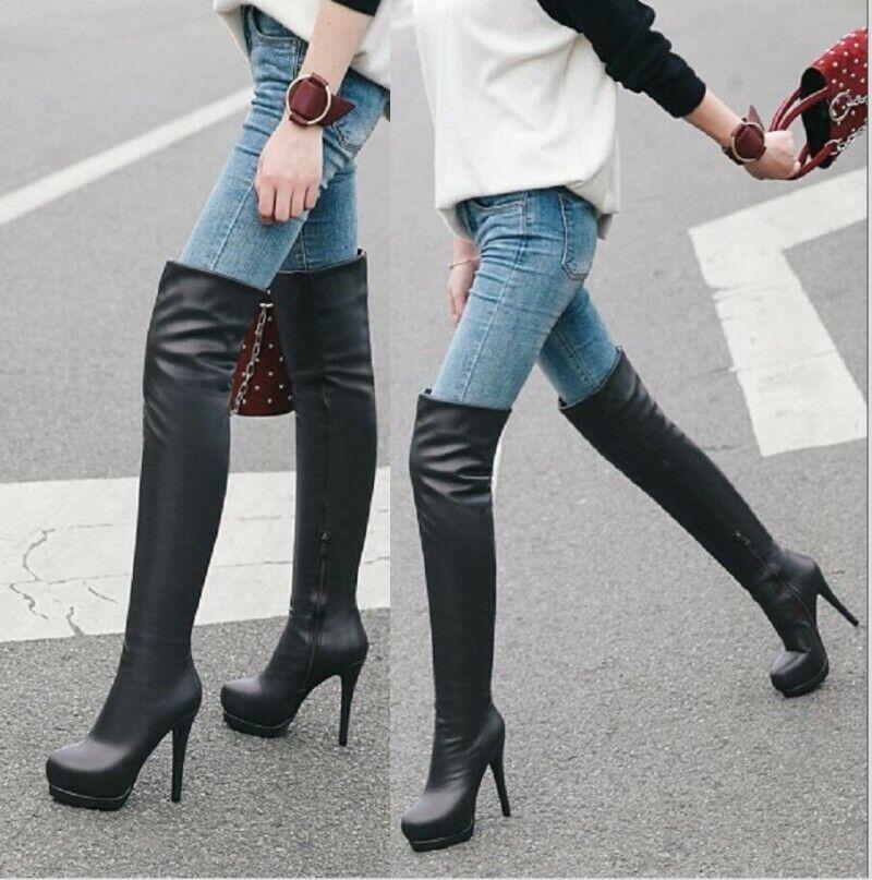 Sexy Platform Damenstiefel 34-43 Overknee Stretch Stilettos High Heels Freizeit
