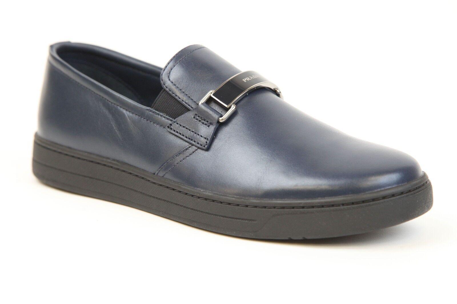 PRADA en cuir bleu à Enfiler Mocassin Chaussures Taille 6.5 USA 7.5 Neuf