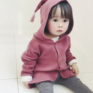 AC_ LK_ NE_ LC_ HK- Baby Girl Solid Color Tassel Hooded Button Toddler Coat Jack