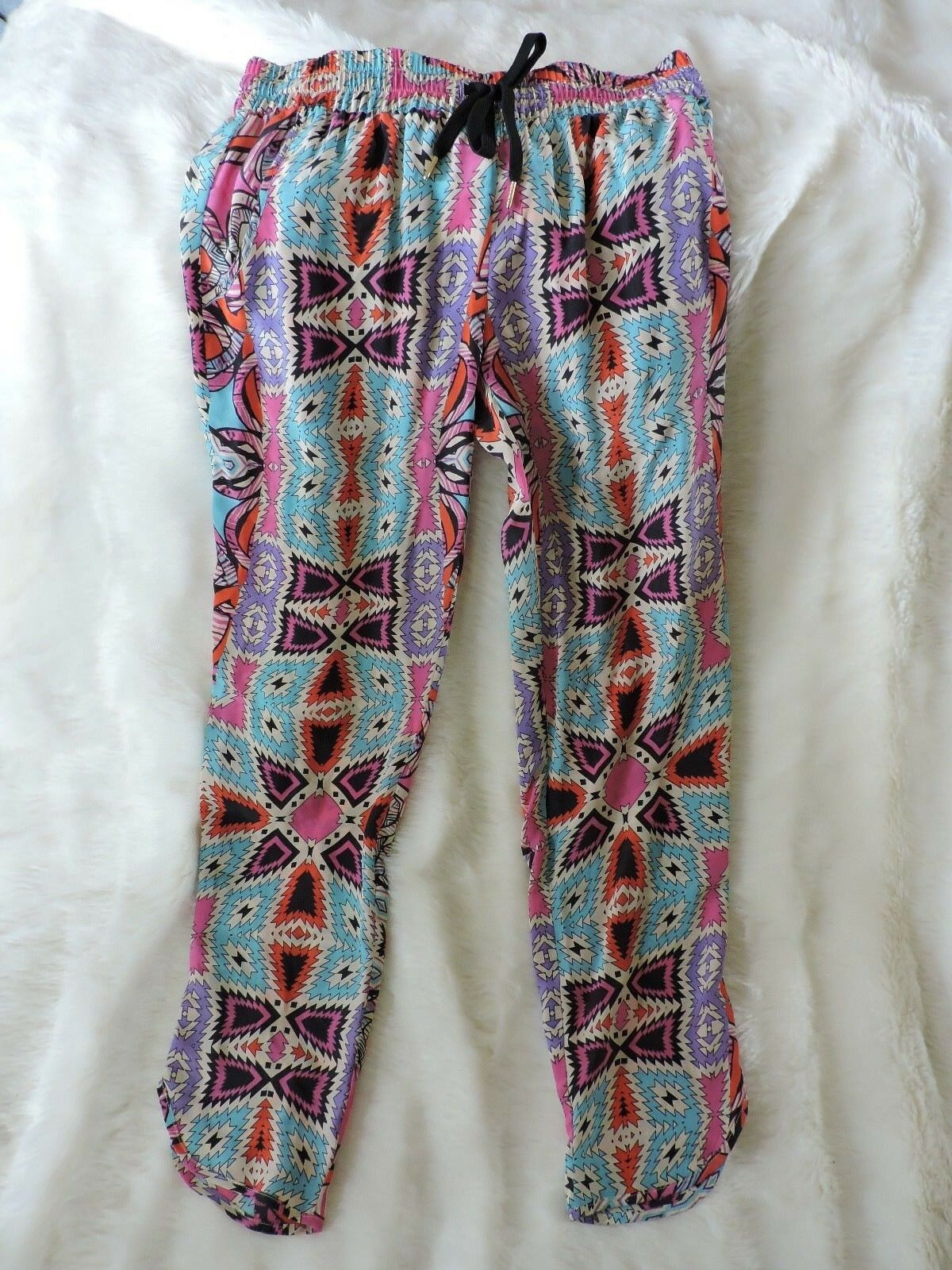 NWT LEIFNOTES ARTISTIC COLOR POP SILK MOSAIC ANKLE PANTS 2 (XS Anthropologie tag