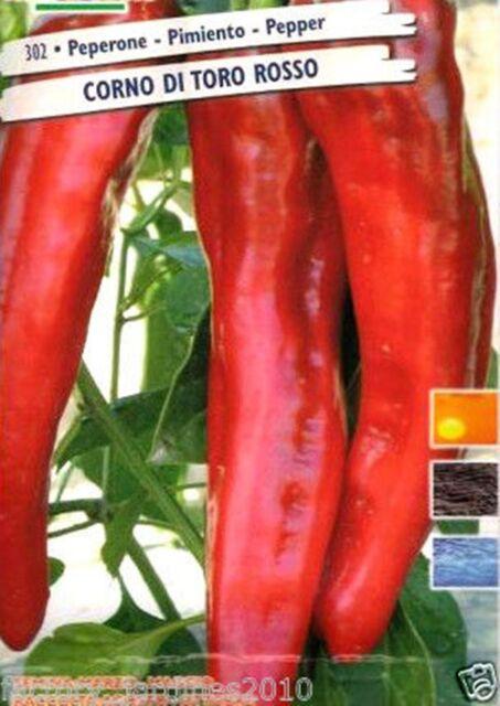 Pimiento ROJO Cuerno de Toro. 5 Gr / 600 Semillas - Seeds.