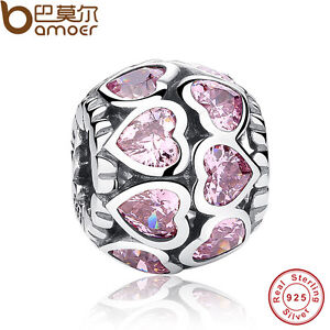 Authentic-S925-Sterling-Silver-Pink-Zricon-Heart-Charms-Fit-P-European-Bracelets