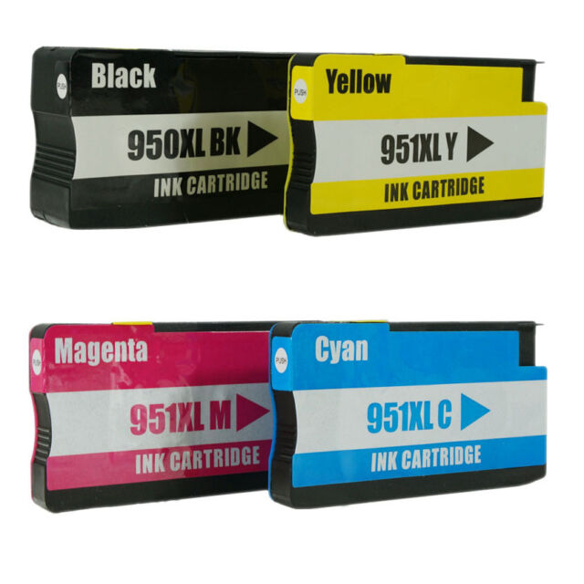 4 PACK Ink cartridges for HP 950XL HP 951XL Officejet 8600 8100 with CHIP