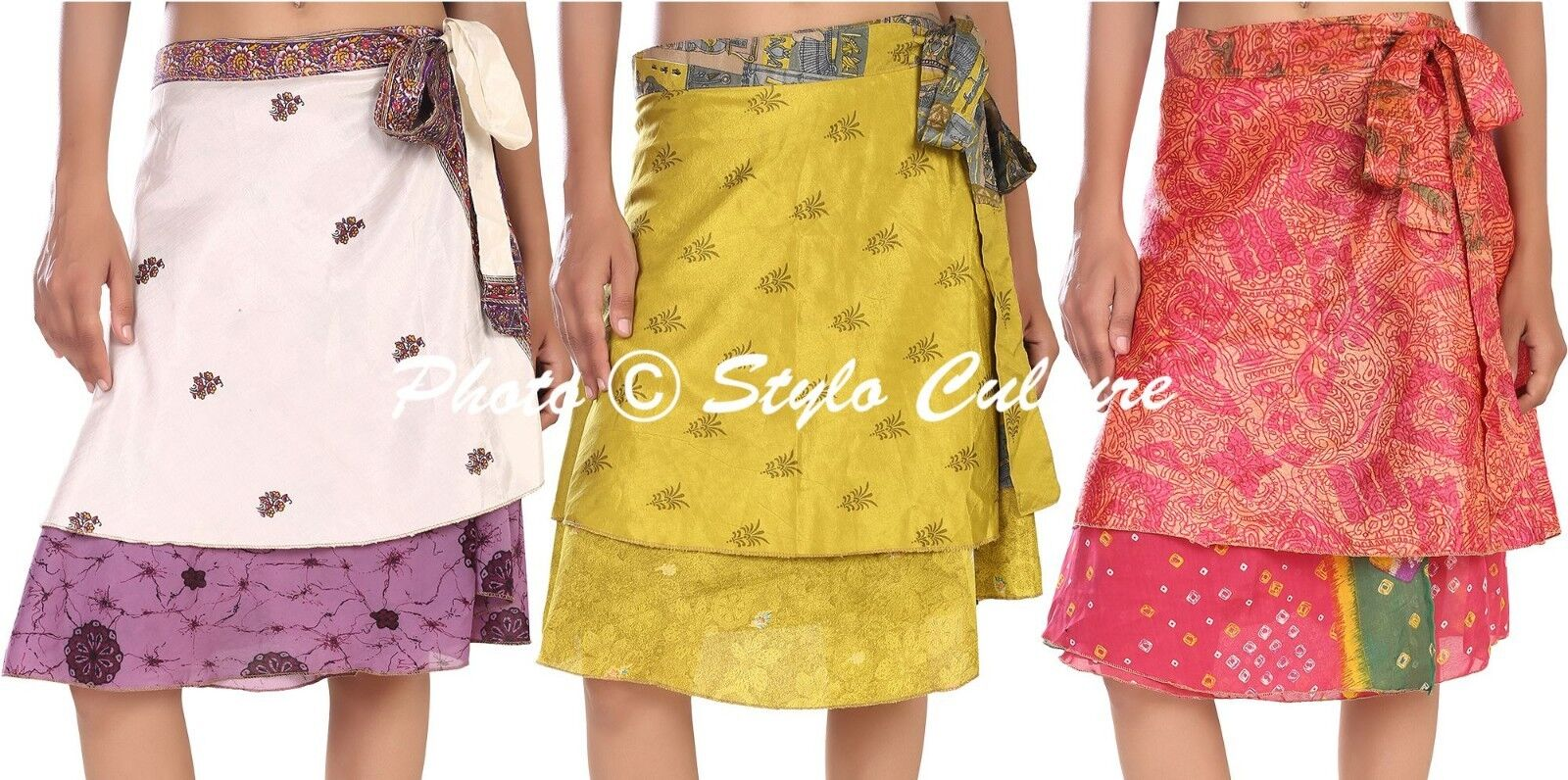 Indian Skirt Women Wrap Around Rapron Silk Skirt Short Skirt 5 PC Wholesale Lot