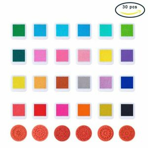 24-Colors-Ink-Pad-Stamps-with-6pcs-Lace-Wood-Stamps-DIY-Scrapbook-for-Crafts