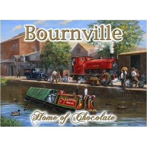 Vintage Steam Train Medium Metal Tin Sign Bournville Chocolate Canal Barge