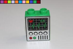 Lego-Duplo-Ekg-Hospital-Verde-1x2-2er-Altura-Modulo-Piedra-de-Adorno