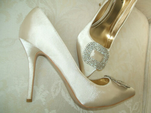 NEW SIZE 3 4 5 6 7 8 IVORY CREAM DIAMANTE BRIDAL WEDDING SPECIAL OCCASION SHOES
