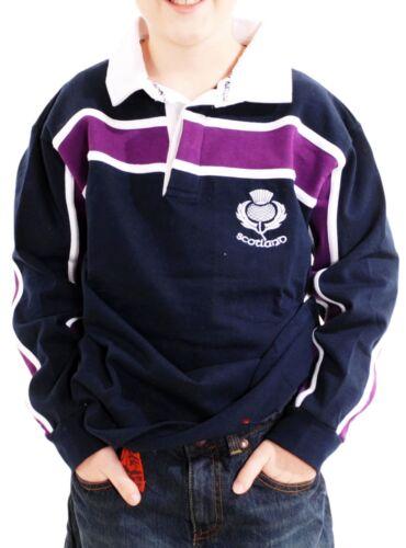 Kids Scotland Thistle Logo Rugby Shirt Purple Stripe Navy 3-4 years